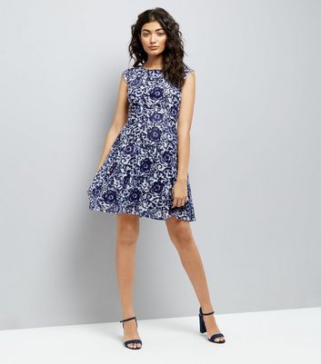Mela Navy Floral Swirl Print Skater Dress New Look