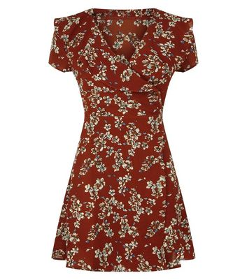 Mela Dark Brown Floral Print Wrap Dress New Look