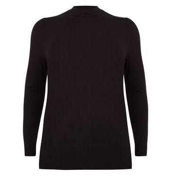 Curves Black Puff Sleeve Turtle Neck Top New Look