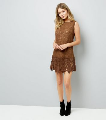 Brown Lace Dress New Look