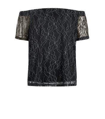 Teens Black Off Shoulder Metallic Lace Top New Look