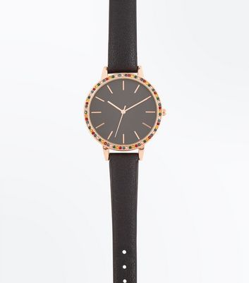 Black Stone Embellished Watch New Look