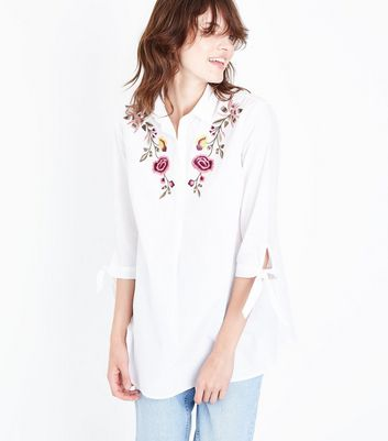 Tall White Floral Embroidered Shirt New Look