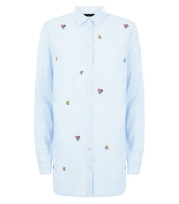Tall Blue Floral Embroidered Shirt New Look