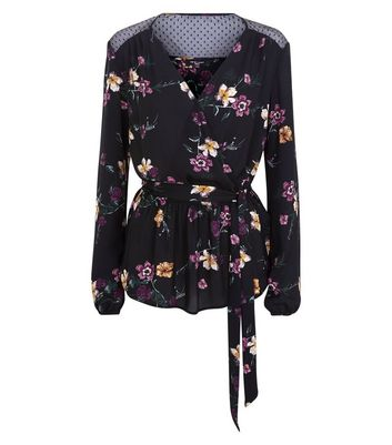 Tall Black Floral Mesh Back Wrap Top New Look