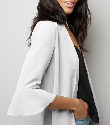 Pale Grey Bell Sleeve Blazer New Look