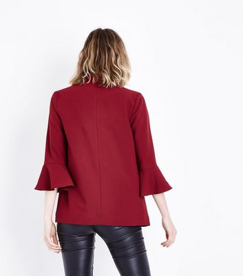 Burgundy Bell Sleeve Blazer New Look