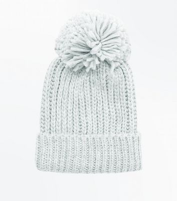 Pale Grey Rib Knit Bobble Hat New Look