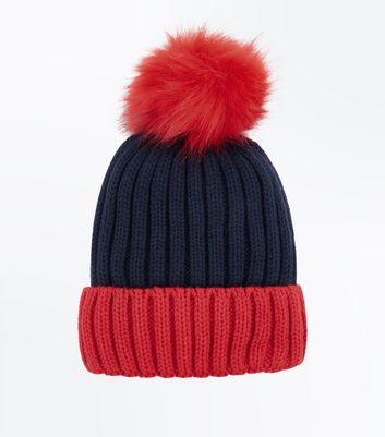 Pale Blue Colour Block Pom Pom Hat New Look