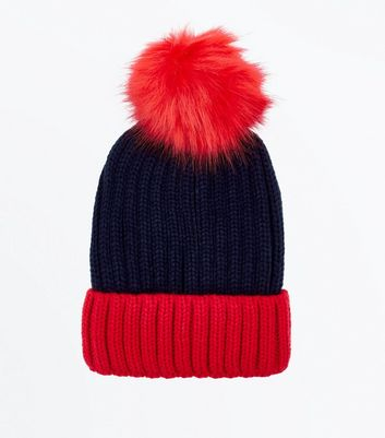 Blue Colour Block Pom Pom Hat New Look