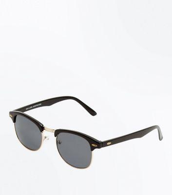 Black Oval Detail Sunglasses New Look