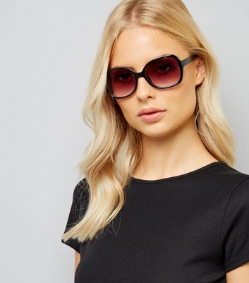 Black Pink Lense Oversized Sunglasses New Look
