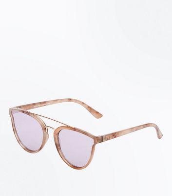 Pink Marble Look Sunglasses New Look