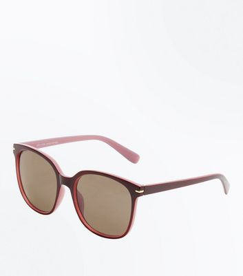 Burgundy Retro Sunglasses New Look