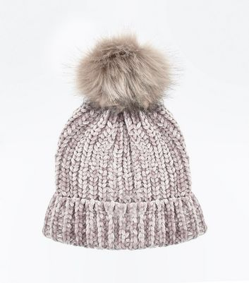 Mink Chenille Knit Faux Fur Pom Pom Hat New Look