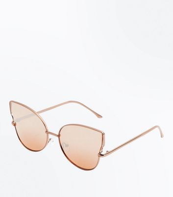 Rose Gold Holographic Sunglasses New Look