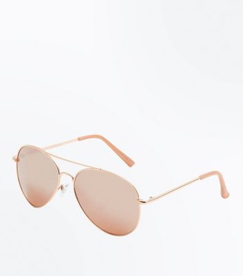 Rose Gold Mirror Pilot Glasses New Look