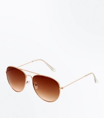 Gold Ombre Lense Pilot Sunglasses New Look