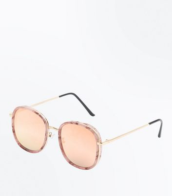 Pink Marbled Mirrored Lense Sunglasses New Look