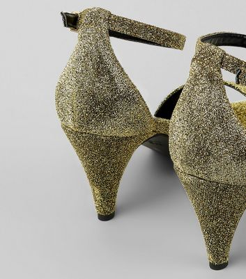 Gold Glitter Cone Heel Sandals New Look