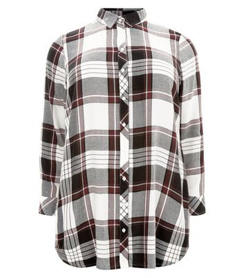 Curves White Check Shirt New Look