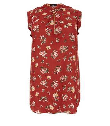 Curves Brown Floral Print Zip Front Tunic Top New Look