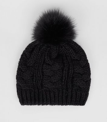 Black Cable Knit Faux Fur Pom Pom Beret Hat New Look