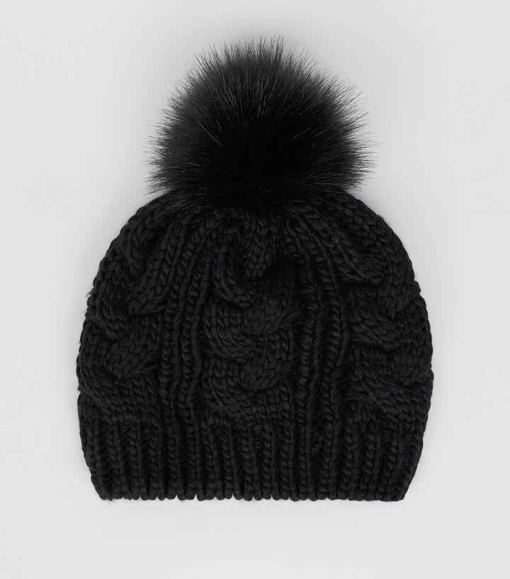 d9a9a2c0312c3 Black Cable Knit Faux Fur Pom Pom Beret Hat