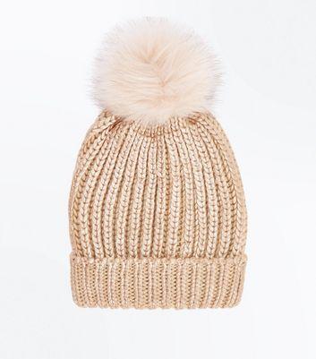 Rose Gold Metallic Faux Fur Pom Pom Hat New Look