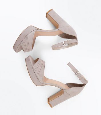 Wide Fit Grey Suedette Piped Strap Platform Sandals New Look
