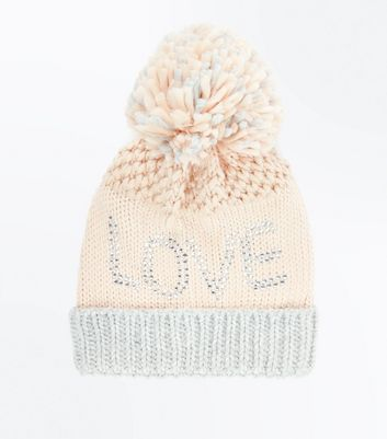 Pink Embellished Love Slogan Bobble Hat New Look