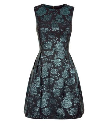 Blue Vanilla Blue Floral Jacquard Dress New Look