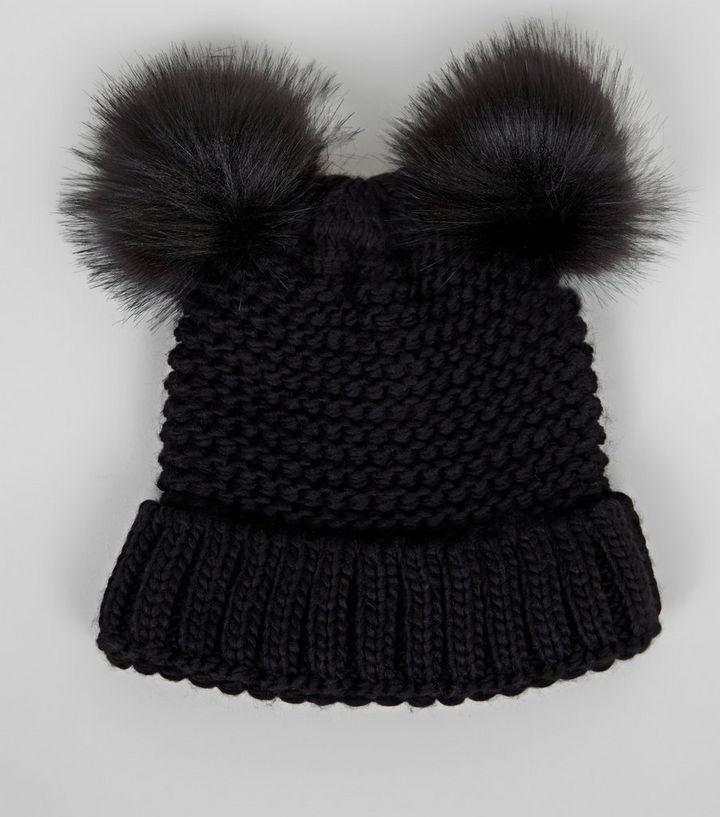 850affe7 Black Double Faux Fur Pom Pom Hat | New Look