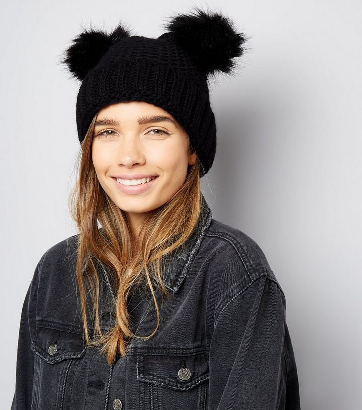 059a29f868f ... Black Double Faux Fur Pom Pom Hat. ×. ×. ×. Shop the look