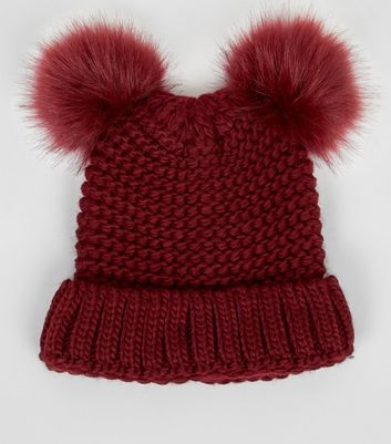 Burgundy Double Faux Fur Pom Pom Hat New Look