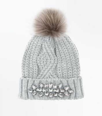 Grey Embellished Cable Knit Bobble Hat New Look