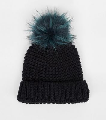 Blue Faux Fur Pom Pom Knitted Hat New Look