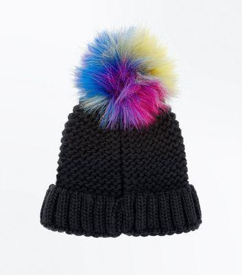 Black Faux Fur Pom Pom Bobble Beanie New Look