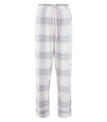 Grey Check Pyjama Joggers New Look