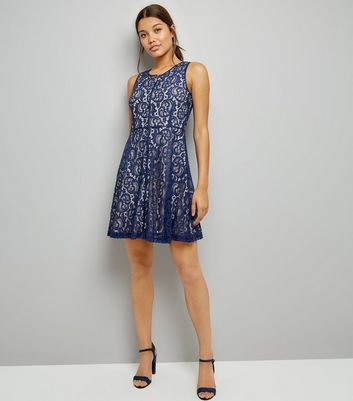 Blue Vanilla Navy Lace Zip Front Skater Dress New Look