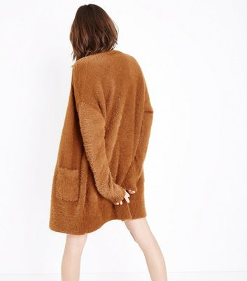 Light Brown Fluffy Longline Cardigan New Look