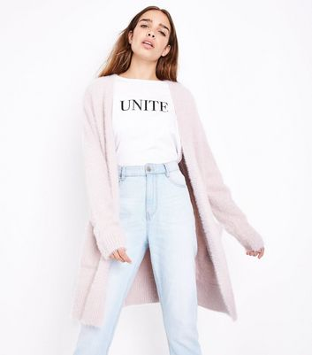 Shell Pink Fluffy Longline Cardigan New Look