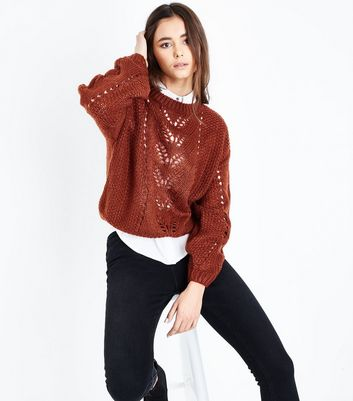 Rust Pointelle Knit Balloon Sleeve Jumper New Look