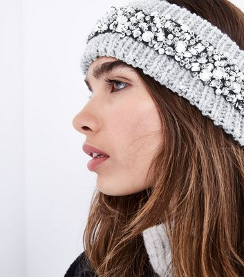 Grey Sequin Embroidered Headband New Look