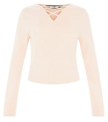 Teens Pink Lattice Front Long Sleeve Top New Look