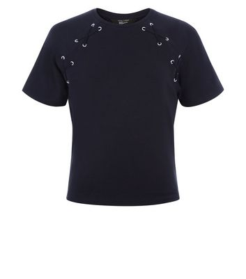Teens Black Eyelet Lace Up T-Shirt New Look