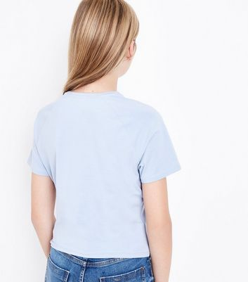 Teens Pale Blue Eyelet Lace Up T-Shirt New Look