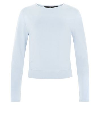 Blue Long Sleeve Cut Out Panel Top New Look