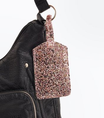 Pink Glitter Luggage Tag New Look