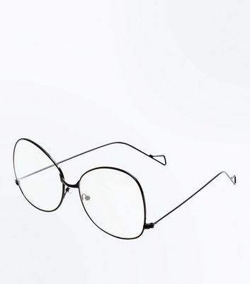 Silver Oversized Rectangle Clear Lens Glasses New Look